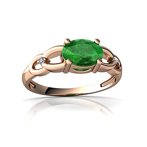 14kt Rose Gold Emerald and Diamond 7x5mm Oval Links Ring - Size 9 (9x7 14kt Emerald Gold)