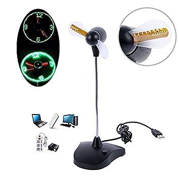 Rokoo Ventilador portátil USB Flexible LED reloj ventilador con display de tiempo de soporte para ordenadores portátiles de escritorio uso de la oficina en ...