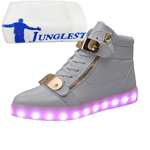 (Present:kleines Handtuch)JUNGLEST® 7 Farbe Lackleder High Top USB Aufladen LED Leuchtend Sport Schuhe Sportschuhe Sneaker Turnschuhe für Unisex-Erwachsene Lackleder High Top Weiß