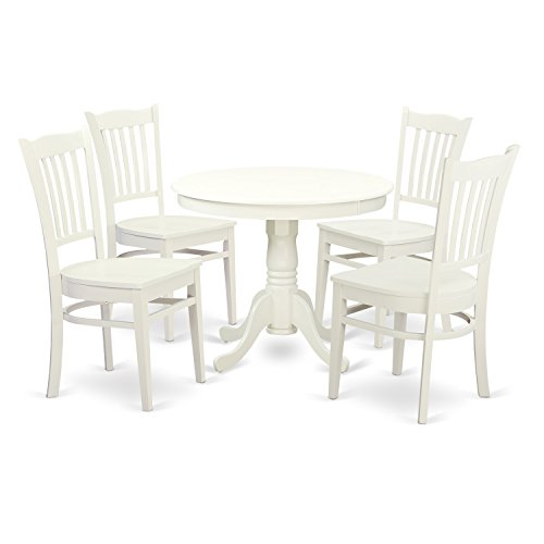 East West Furniture ANGR5-LWH-W 5 PC Set with One Kitchen Table & Four Wood Seat Kitchen Chairs in a Rich Linen White
