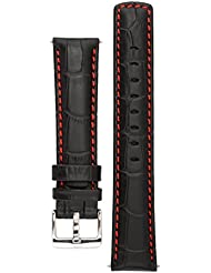 Signature Freedom Black with Red 22 mm watch band. Replacement watch strap. Genuine leather. Silver Buckle