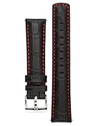 Signature Freedom watch band. Replacement watch strap. Genuine leather. Silver Buckle (20 mm - extra-long, Black with Red)