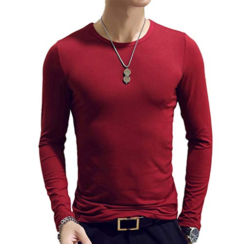 Men Long t-Shirt Fashion O-Neck Fit Tshirt Solid Male Clothing Blusa Tee Top Win red A XL ()