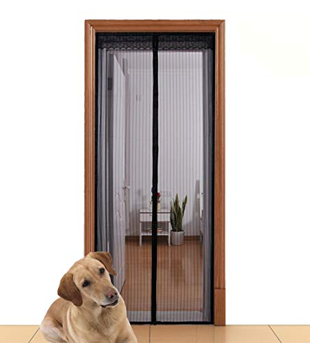 Aloudy Magnetic Screen Door Fits Doors Up to 36 x 98 MAX, Full Frame Velrco Instant Mesh Curtain, Hands Free Bugs Off Door Screen with Magnets