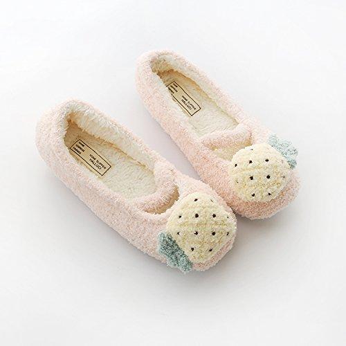 chaussures l'automne fruit de l'hiver de caoutchouc en en femmes et avec chaussures 39 antidérapant ballet chaud l'ananas code sur chaussons Le coton base l'chaussures la au 38 doux Z5qdwqX