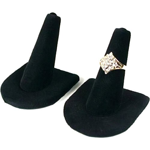 2 Black Velvet Ring Finger Jewelry Holder Showcase Display Stands ()