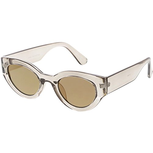 (sunglassLA - Bold Wide Arms Thick Frame Cat Eye Sunglasses Flat Oval Mirrored Lens 49mm (Shiny Smoke / Gold Mirror))