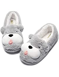 Fox Fleece Slippers | Plush Indoor/Outdoor Bootie...