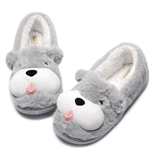 Cute Dog Animal Slippers| Women Warm Slippers Low |Cute Women House Shoes Birthday Gift (7-8.5, Grey Dog) ()