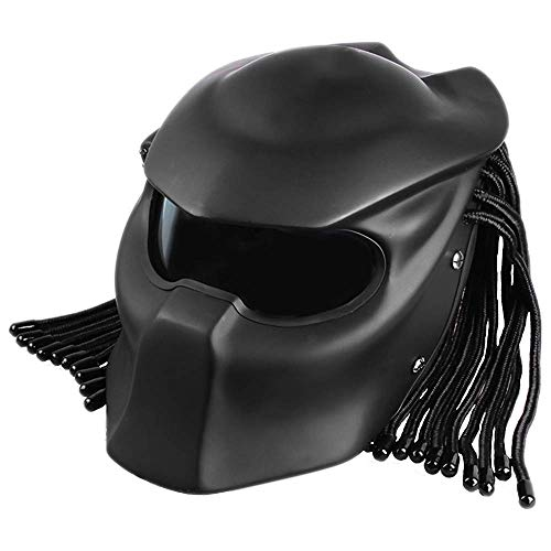 DYM258 Motorcycle Jagged Warrior Predator Front Flip Open Helmet D.O.T Certified Motorbike Riding Harley Retro Scorpion Mask Cross-Country with Braid and LED Light,Matte Black,XL61~62CM