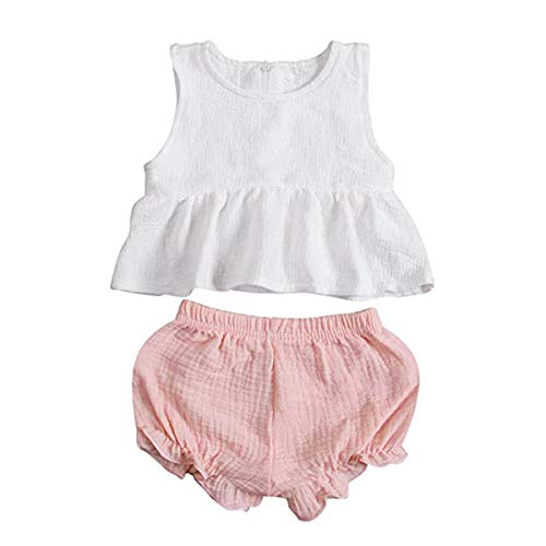 (Newborn Infant Baby Girl Shorts Outfits Set Ruffle T-Shirt Vest Tank Top + Short Pants Bloomer Sunsuit Summer Clothes (White+Pink, 18-24)