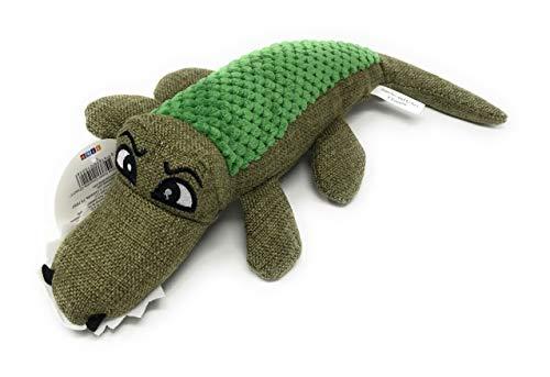'Caroline The Crocodile' Dog Squeak Toy/Tuscan Olive Green Hemp Fabric Medium Alligator (11.5
