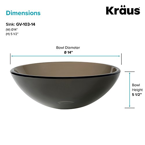 Kraus GV-103-14 Clear Brown 14 inch Glass Vessel Bathroom Sink by Kraus (Image #5)