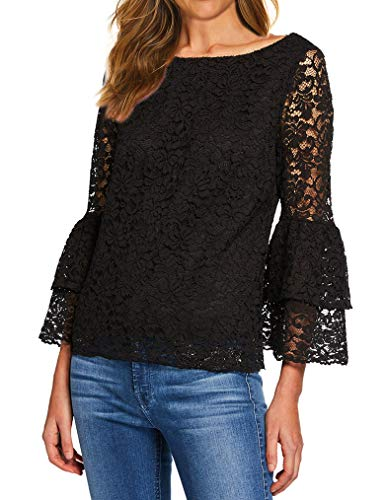 Tobrief Womens Flare Long Sleeve Sheer Sheer Blouse Mesh Lace Top(Black,M)