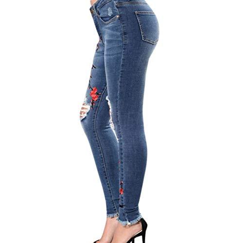 Elásticos Bordada Con Agujeros Pantalones Ropa Pequeños Mujeres De Bolsillos Lápiz Las Botón Blau Delgados Esquina Jeans Adelina Pitillo fqPxYYU