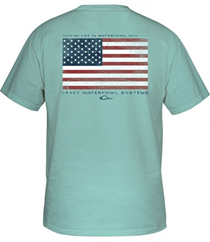 Drake American Flag T-Shirt Short Sleeve - Celadon (2X-Large) (Celadon)