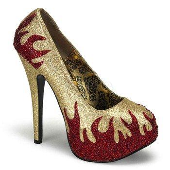 (Pleaser Women's Teeze-27 Platform Pump,Gold Mini Glitter/Red Rhinestones,7 M US)