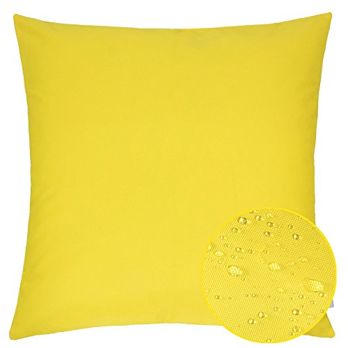 Homey Cozy Outdoor Throw Pillow Cover, Classic Solid Yellow Large Pillow Cushion Water/UV Fade/Stain-Resistance For Patio Lawn Couch Sofa Lounge 20x20, Cover Only (Solid Pillow Outdoor)