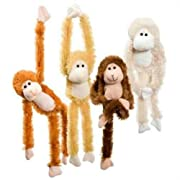 Fuzzy Friends 1 Each Burnt Orange, Blonde, Cream and Dark Brown Plush Monkey with Velcro Hands Furry Stuffed Animal, Set of 4