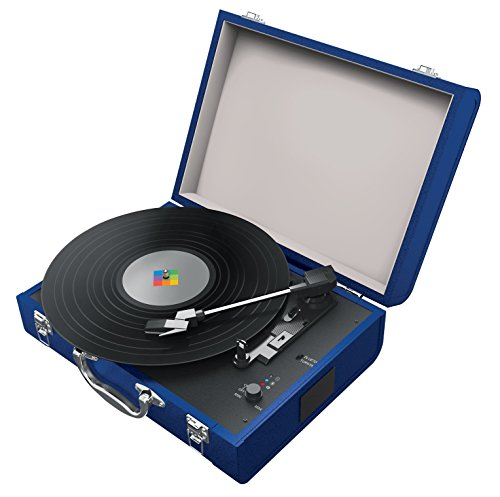Polaroid Portable Bluetooth Turntable with Speakers for Vinyl and Wireless Devices (Blue)