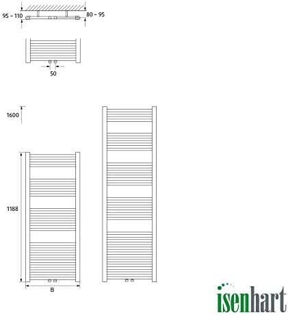 I-0008 Isenhart Badheizk/örper Mittelanschluss gerade Handtuchtrockner Handtuchheizk/örper Designheizk/örper wei/ß 1188 mm x 500 mm