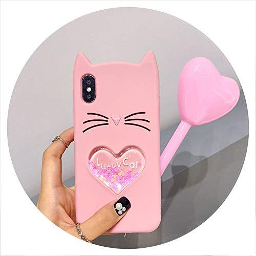 for Samsung Galaxy J2 Pro J4 J6 2018 Case Love Heart Dynamic Liquid Kitty Cat Soft Phone Case for Samsung J4 Plus J6 Plus A6 2018,Pink Liquid Car,for A6 2018