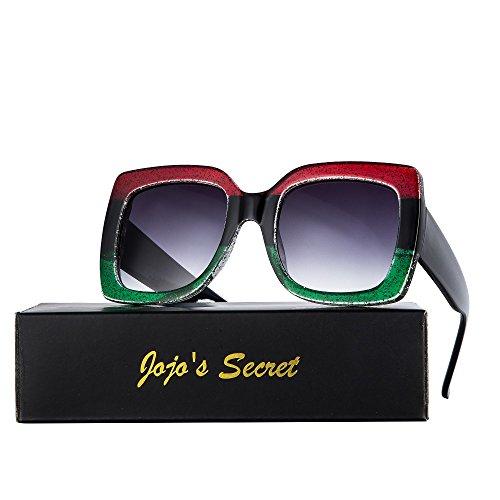 Inspired Oversized Sunglasses - Oversized Square Sunglasses for Women, JOJO'S SECRET Designer Inspired Sunglasses Multi Tinted with Glitter Frame JS052 (Red&Green/Light Grey, 2.1)