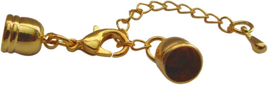10x Schmuckverschluss Endkappe Karabiner 5 mm gold