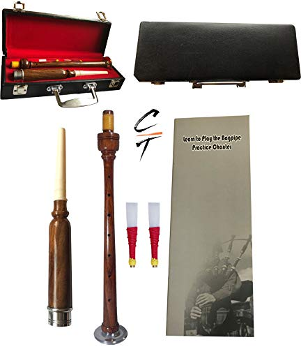 Great Highland Rose Wood Practice Chanter,Sliver Mount with Quality Case 2 Reeds
