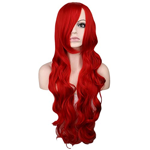 Long Wavy Cosplay Dark Red 80 Cm Synthetic Hair -