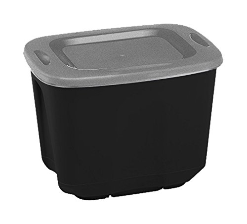 Homz Plastic Storage Tote Box, With Lid, 10 Gallon, Black and Silver, Stackable, - Tote Gallon 10