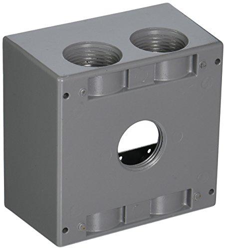TayMac DB5100S 4-1/2-Inch X 4-1/2-Inch Gang 2-Inch Deep Weatherproof Box, 1-Inch Outlets, Gray (Box Deep Weatherproof Gang)