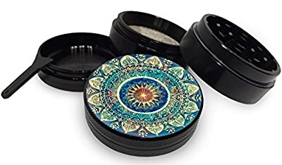 "Blue Mandala Black Herb Grinder 4 Piece Aerospace Aluminum Metal Grinder 2.0"" 2 inch wide"