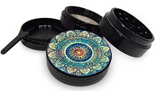 Blue-Mandala-Black-Herb-Grinder-4-Piece-Aerospace-Aluminum-Metal-Grinder-20-2-inch-wide