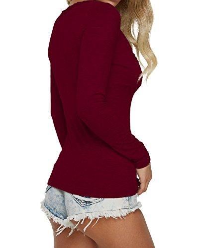 Sexy a Autunno Rosso V Shirt Casual Vino Donna Scollo T Elegante Magliette Auxo Lunghe Slim Tops Maniche HW6PYBWwxq