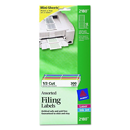 Avery Mini-Sheets Labels, 3.4735 x 0.66 Inches, White with Assorted Borders, 300 per Pack ()