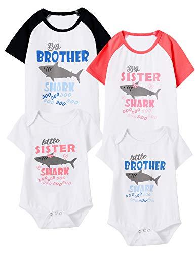 Aslaylme Baby Girls Matching Outfits Little Sister Shark Doo Doo Bodysuit (Pink-Little,0-3 Months) (Big Brother And Baby Sister Matching Outfits)