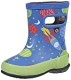 Bogs Kids' Skipper Waterproof Rubber Rain Boot for Boys and Girls,Space Print/Blue/Multi,4 M US Toddler
