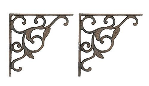 2 Leaf Brackets Shelf Braces Iron Patio Garden Ornate Pair by Upper ()