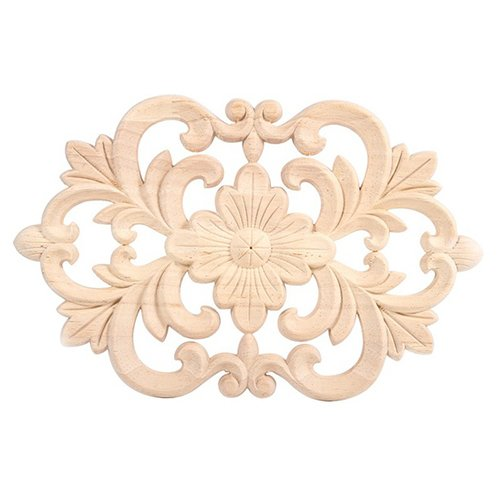 TOOGOO(R) 1x Rubber Wood Carved Onlay Applique Unpainted Furniture for Home Door Cabinet Decoration Wood color(22x14cm) - Carved Panel Door