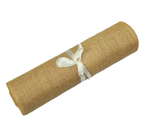 COTTON CRAFT - 2 Pack - Jute Burlap Table Runner - 12 in. x 108 in. Each - 6 Yards Total - Rustic Hessian - Overlocked Edges - for Weddings, Home Décor & Crafts - CONTENTS: Package contains Two Natural Color Jute Burlap Table Runners Rolls with overlocked and sewn edges SIZE: Each Table Runner Roll measures 12 inches wide and 3 Yards long (108 inches). HIGH QUALITY: Made from 100% Natural Jute Fibers. Tighter and no -gap weave makes it more durable material. - table-runners, kitchen-dining-room-table-linens, kitchen-dining-room - 41xj7G9tjCL -
