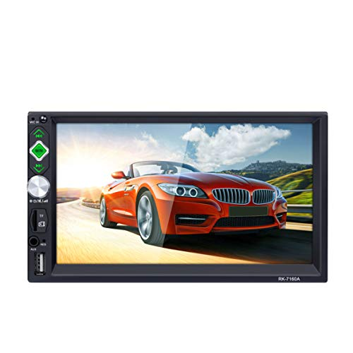 LSLYA 2Din Car Stereo 7 Inch HD Touch Capacitive Screen MP5 Player, Bluetooth and Hands-Free Calling, Mirror Link, External Microphone FM/AM/RDS/AUX/USB/TF, Support for Rear View Camera Function