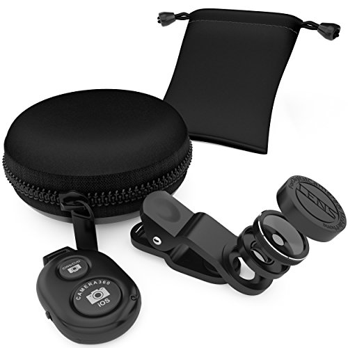 Mega Wide Angle and Macro iPhone Camera Lens Kit - Universal Fit For iPad and Other Mobile Devices - Bonus: Zipper Case and Bluetooth Shutter Remote (Galaxy Mega Camera Lenses)