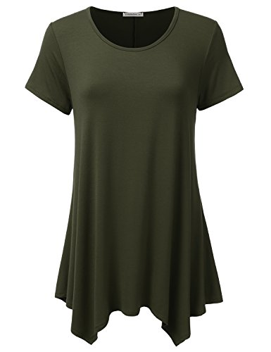 JJ Perfection Women's Short Sleeve Loose Fit Swing Tunic Top T-Shirt Cargo -