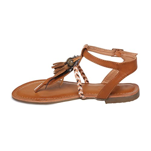 La Modeuse - Sandalias de vestir para mujer, marrón (marrón), 41