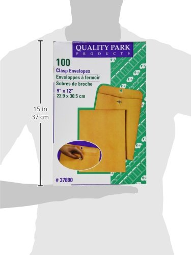 Quality Park - Sobres de corchetes de 9 x 12 con solapas profundamente engomadas, ideales para archivar, almacenar o enviar documentos, Kraft marrón de 28 lb, 100 por caja (37890)