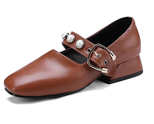 cuero Brown Princess a Sweet 35 Square de Jane Talla Toe de 42 Zapatos Mary Pearl mujer ZnqtwS11c