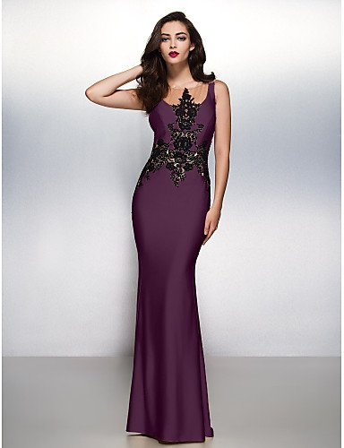 HY Boca Con Prom De Cepillo Vestido Grape Trompeta Sirena Formal Noche amp;OB Lazo Cuello Barrer Tren Gala Jersey Negro Apliques FrSwF5q