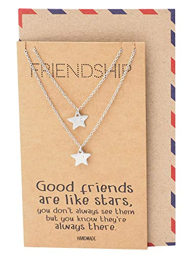 Quan Jewelry Star Pendants Matching Friendship Necklace for 2, Gifts for Her with Greeting Card (Best Friendship Day Greetings)