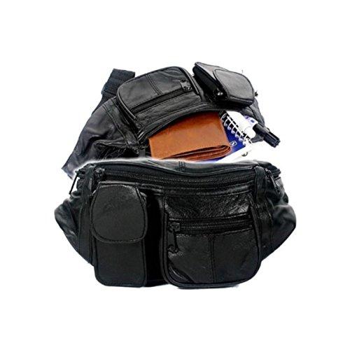 Leder Bauchtasche Hüfttasche schwarz